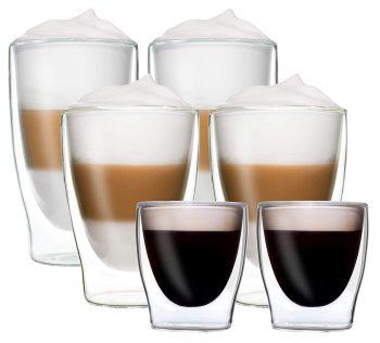 Dubbelwandige glazen, dubbelwandig glas, dubbelwandige theeglazen, dubbelwandige koffie glazen, dubbelwandig,thermoglas, 6 set