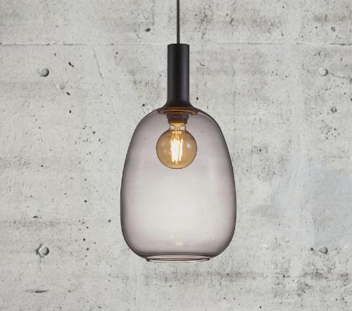 Alton 47303047, Alton 23 Gerookt Hanglamp Zwart E27, moderne hanglamp glas nordlux, trenchic hanglamp