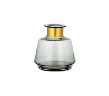 MV0901, Nkuku Glazen vaas 20.5x19 cm Small, Glazen vaasje smoke, kleine vaas smoke met goud