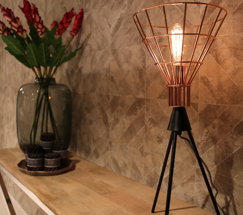Tafellamp 'Hars', industriele lamp, industrial lamp, industriele tafellamp koper, moderne lamp, trenchic
