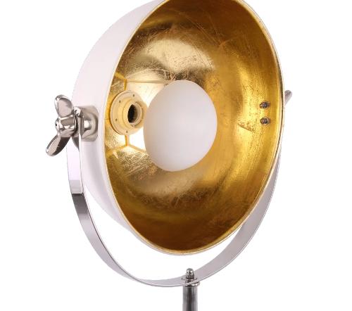 Tafellamp 'buk', industriele tafellamp, industrial table lamp, industriele lamp, industriele lamp goud met wit, moderne lamp, trendy lamp