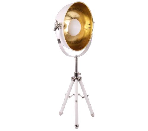 Tafellamp 'buk', industriele tafellamp, industrial table lamp, industriele lamp, industriele lamp goud met wit, moderne lamp
