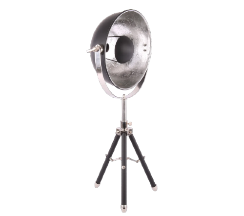 Tafellamp 'buk', industriele tafellamp, industrial table lamp, industriele lamp, industriele lamp zilver met zwart, moderne lamp. tafellamp zwart