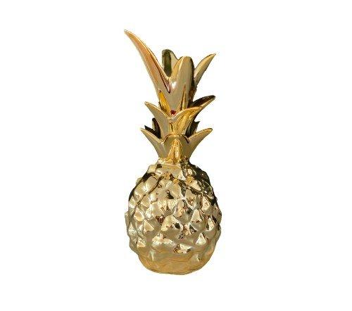 Beeldje 'Ananas', decoratief beeldje ananas goud, trendy gouden beeldje, jungle mush collectie