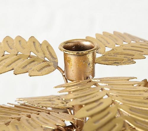 Kaarshouder 'palm', gouden palmboom kaarsen houder, gouden palm boom voor kaars, jungle mush collectie, kaarsenhouder goud