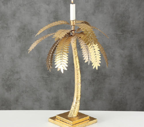 Kaarshouder 'palm', gouden palmboom kaarsen houder, gouden palm boom voor kaars, jungle mush collectie