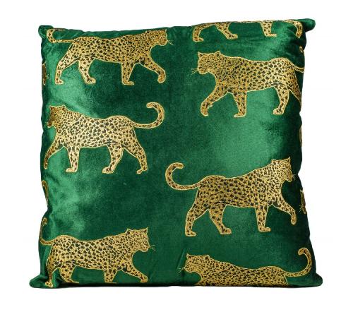 Kussen 'Luipaard', moderne kussen luipaard fluweel groen, trendy kussen groen luipaard, jungle mush collectie