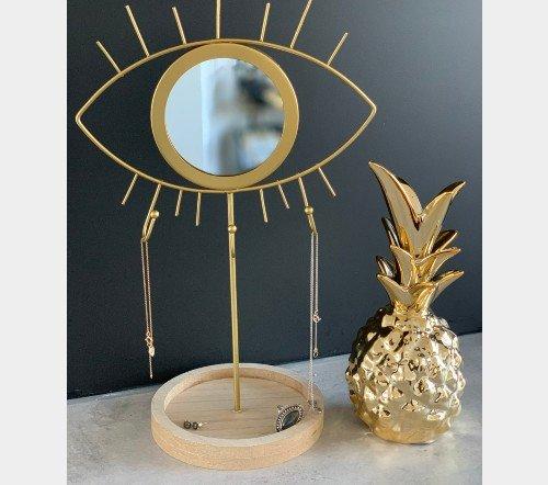 Sierradenhouder 'eye', trendy sierraden houder goud met oog, jungle mush, trenchic