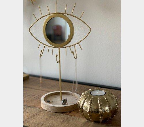 Sierradenhouder 'eye', trendy sierraden houder goud met oog, jungle mush, trendy standaard trenchic