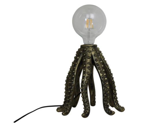 Tafellamp 'Octopus' goud, moderne tafellamp octopus goud, gouden octopus lamp, jungle mush collectie
