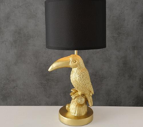 Tafellamp 'Tucan', moderne tafellamp goud, gouden tafellamp tucan, tucan tafellamp goud, jungle mush collectie