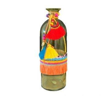 Vaas 'Ibiza' geel, geel ibiza vaas, glazen vaas met franjes, trendy glazen vazen