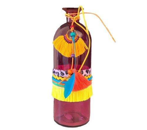 Vaas 'Ibiza' roze, roze ibiza vaas, glazen vaas met franjes, trendy glazen vazen