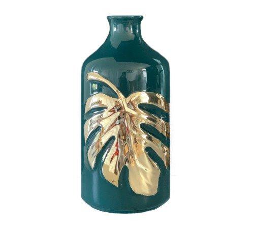 Vaas 'Leaf', trendy vaas groen met goud, stenen vaas goud met groen, moderne trendy vaas, jungle mush collectie