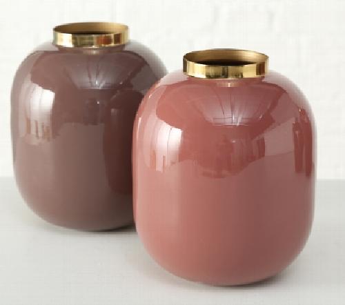 Vaas 'Vila', moderne vaas roze met gouden rand, trendy vaas met gouden rand, jungle mush collectie