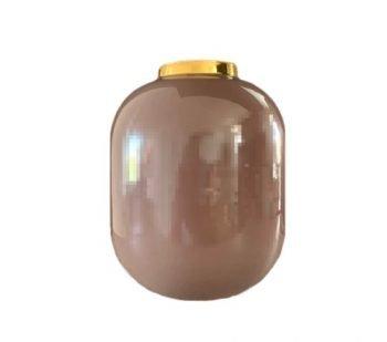 Vaas 'Vila', trendy vaas met gouden rand, decoratie vaas, decoratieve vaas, trendy vaas metaal roze, oud roze