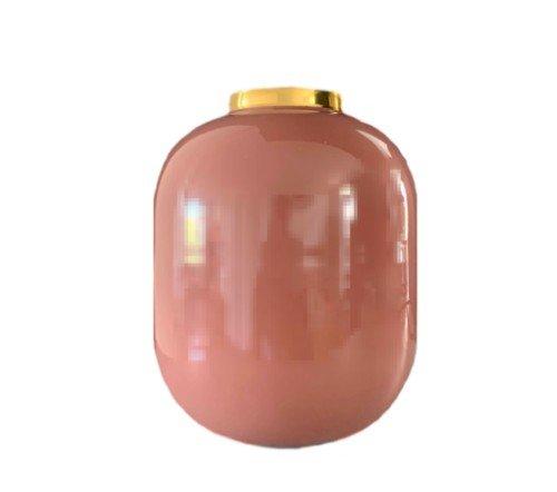Vaas 'Vila', trendy vaas met gouden rand, decoratie vaas, decoratieve vaas, trendy vaas metaal roze, roze