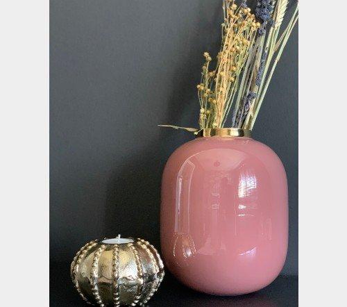 Vaas 'Vila', trendy vaas met gouden rand, decoratie vaas, decoratieve vaas, trendy vaas metaal roze