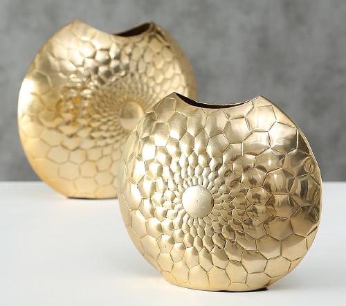 Vaas 'moon', gouden vaas, moderne gouden vaas, jungle mush collectie, trenchic