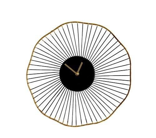 Klok 'Flower', trendy klok, zwarte klok met goud, trendy gouden klok, jungle mush, wandklok zwart goud rond