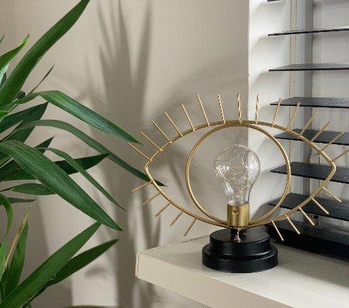 Tafellamp 'Eye', trendy tafellamp goud, gouden tafellamp oog, jungle mush, 1