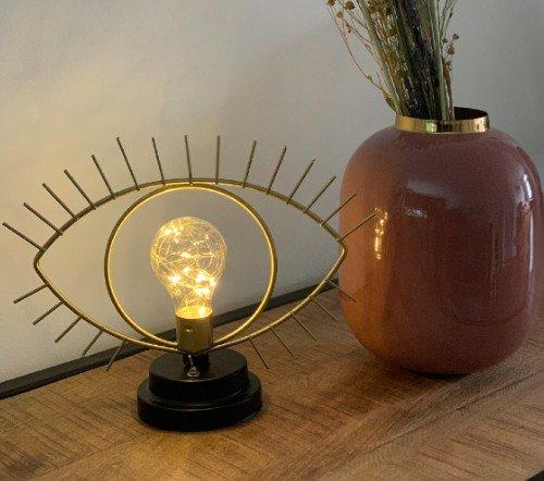 Tafellamp 'Eye', trendy tafellamp goud, gouden tafellamp oog, jungle mush