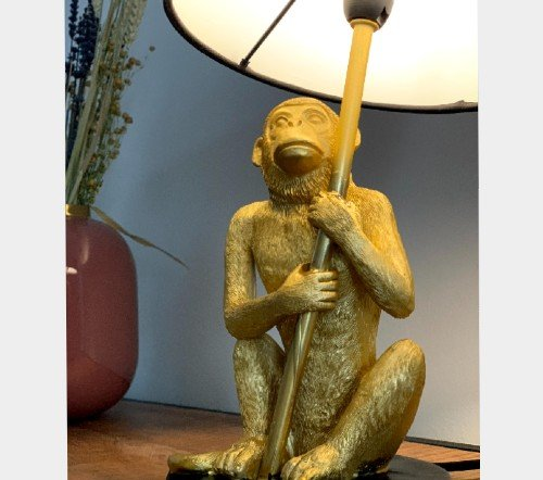 Tafellamp 'Monkey', trendy tafellamp, gouden tafellamp aap, gouden aap lamp, trendy aap lamp goud, jungle mush, Apen lamp goud
