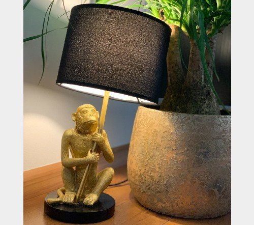 Tafellamp 'Monkey', trendy tafellamp, gouden tafellamp aap, gouden aap lamp, trendy aap lamp goud, jungle mush, Apen lamp goud, 2