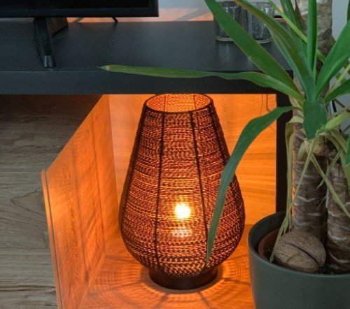 Tafellamp 'Safari', Trendy tafellamp zwart met goud, jungle mush, trenchic, tafellamp zwart metaal