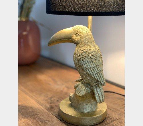 Tafellamp 'Tucan', trendy tafellamp, gouden tafellamp, tafellamp tucan goud, jungle mush, trenchic