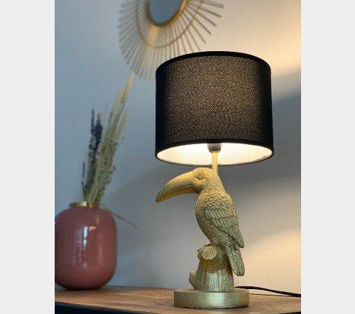 Tafellamp 'Tucan', trendy tafellamp, gouden tafellamp, tafellamp tucan goud, jungle mush