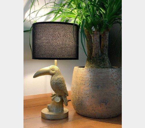 Tafellamp 'Tucan', trendy tafellamp, gouden tafellamp, tafellamp tucan goud, jungle mush,2