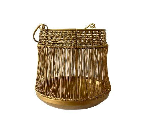 Windlicht 'Goldiny', gouden windlicht, jungle mush, Windlicht goud metaal