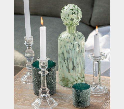 Fles 'Spikkel' groen wit, trendy fles met spikkels, moderne karaf, glazen karaf met spikkels, Fles+ST SPI deco gl grn_w l 2, junglemush, trenchic, 3