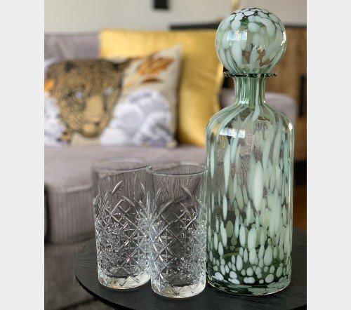 Fles 'Spikkel' groen wit, trendy fles met spikkels, moderne karaf, glazen karaf met spikkels, Fles+ST SPI deco gl grn_w l 2, junglemush, trenchic, 4