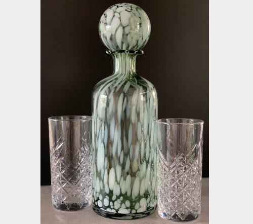 Fles 'Spikkel' groen wit, trendy fles met spikkels, moderne karaf, glazen karaf met spikkels, Fles+ST SPI deco gl grn_w l 2, junglemush, trenchic, 5