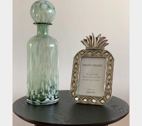 Fles 'Spikkel' groen wit, trendy fles met spikkels, moderne karaf, glazen karaf met spikkels, Fles+ST SPI deco gl grn_w l 2, junglemush, trenchic, 6