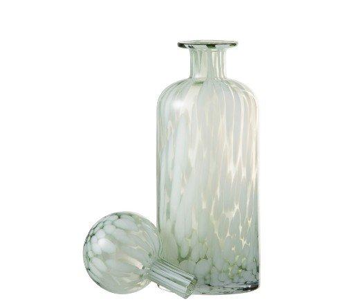Fles 'Spikkel' groen wit, trendy fles met spikkels, moderne karaf, glazen karaf met spikkels, Fles+ST SPI deco gl grn_w l 2, junglemush, trenchic