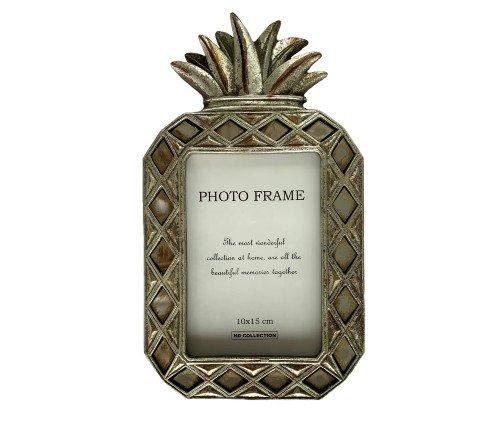 Fotolijst 'Ananas' zilver, zilveren fotolijst, zilveren ananas fotolijst, trendy fotolijst, Fotolijst polyresin silver 10x15c, Junglemush, trenchic