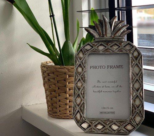 Fotolijst 'Ananas' zilver, zilveren fotolijst, zilveren ananas fotolijst, trendy fotolijst, Fotolijst polyresin silver 10x15c, Junglemush, trenchic,2