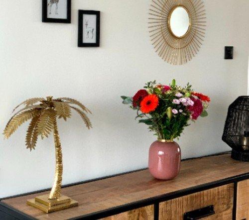 Kaarshouder 'palm', gouden palmboom kaarsen houder, gouden palm boom voor kaars, jungle mush collectie, gouden kaarsenhouder, 2