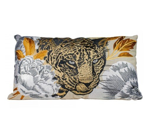 Kussen 'Leopard head', trendy kussen, decoratieve kussen luipaarden hoofd, dieren kussen, Kussen Leopard head CO 60x35, junglemush, trenchic