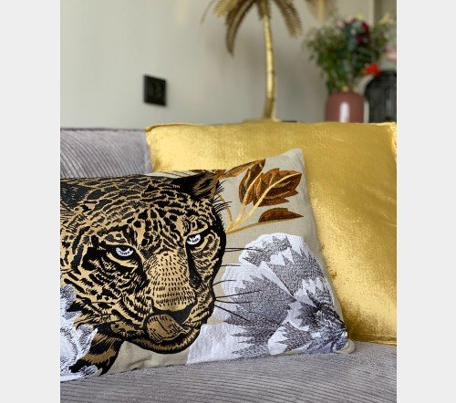 Kussen 'Leopard head', trendy kussen, decoratieve kussen luipaarden hoofd, dieren kussen, Kussen Leopard head CO 60x35, junglemush, trenchic,3