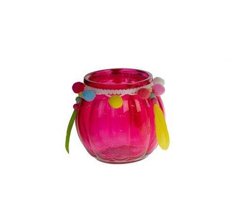 Theelichthouder 'Ibiza' roze, trendy theelichthouder roze, theelichthouder ibiza style, candle holder glass 10.5x10.5x11cm, junglemush, trenchic