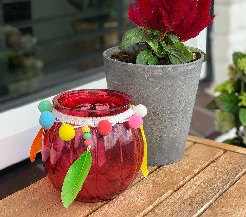 Theelichthouder 'Ibiza' roze, trendy theelichthouder roze, theelichthouder ibiza style, candle holder glass 10.5x10.5x11cm, junglemush, trenchic,2