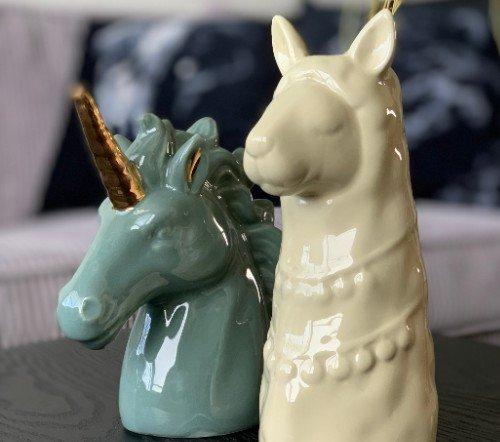 Beeldje 'Unicorn', Eenhoorn beeldje, unicorn beeldje, junglemush, trenchic,Decoratie object metaal, 14x6x16 groen,200937-Jungle-3