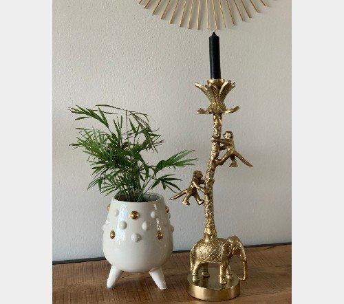Bloempot 'Parel', moderne bloempot met goud, trenchic, junglemush, Trendy bloempot steen, Wit_goud 15.3x15.3x18cm,XET-4998-Jungle-4
