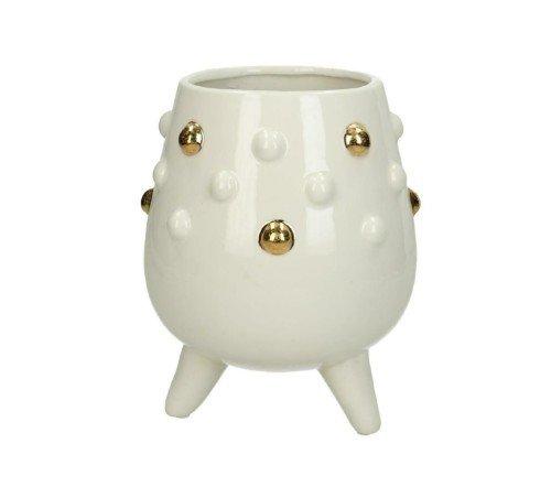 Bloempot 'Parel', moderne bloempot met goud, trenchic, junglemush, Trendy bloempot steen, Wit_goud 15.3x15.3x18cm,XET-4998-Jungle