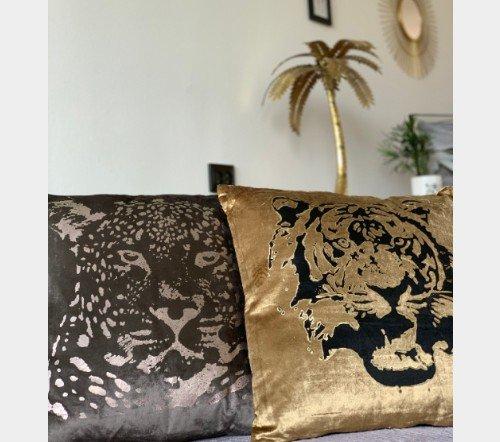 Kussen 'Leopard head', sierkussens, dierenkussens, Decoratie kussen, junglemush, trenchic, 50x50 Taupe353-20-037-Jungle-3