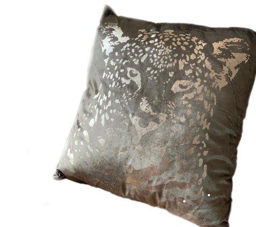 Kussen 'Leopard head', sierkussens, dierenkussens, Decoratie kussen, junglemush, trenchic, 50x50 Taupe353-20-037-Jungle
